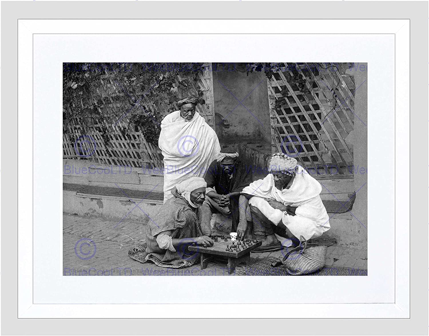 CHESS IN ALGERIA VINTAGE HISTORY OLD BW PHOTO PRINT POSTER 411BWB
