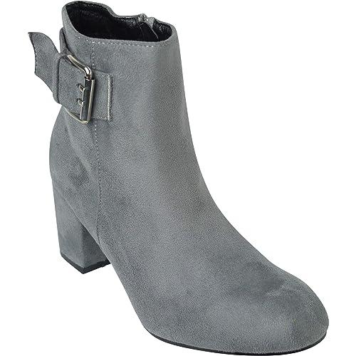 BeMeesh Zapatos Mujer Ante Tipo Botines con Cremallera y Tacón: Amazon.es: Zapatos y complementos