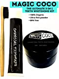Magic Coco Organic Coconut Activated Charcoal Teeth Whitening Powder + Activated Spearmint Charcoal Toothpaste + High Density Soft Bristle Bamboo Toothbrush - 100% Pure Natural Organic 3-in-1 Teeth Whitening Kit | 30g Ultra Fine Charcoal Black Powder | 80g Mint flavor Charcoal Toothpaste | 100% Pure Food Grade Teeth Whitener