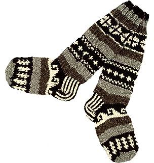 GURU-SHOP, Calcetines de Lana de Oveja Tejidos a Mano, Calcetines de Nepal 38/39, Multicolor, Tamaño:One Size,…