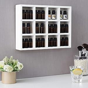 MyGift 12-Compartment White Wood Wall Mounted/Tabletop Shadow Box Keepsake Display Shelf