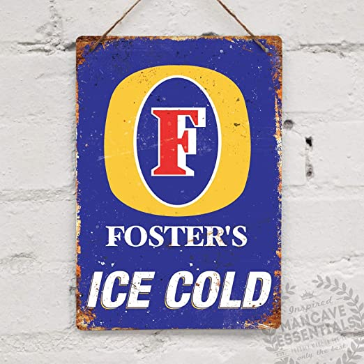 FOSTERS Lager Metal Wall Sign Pub Bar Kitchen Home Mancave Retro Aussie Beer