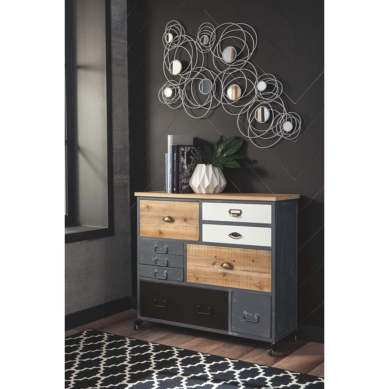 Natural//Gray//Black Finishes Gold//Black//Gray Drawer Handles Caster Wheels Metal /& Solid Reclaimed Wood Ponder Ridge 9-Drawer Accent Cabinet Ashley Furniture Signature Design