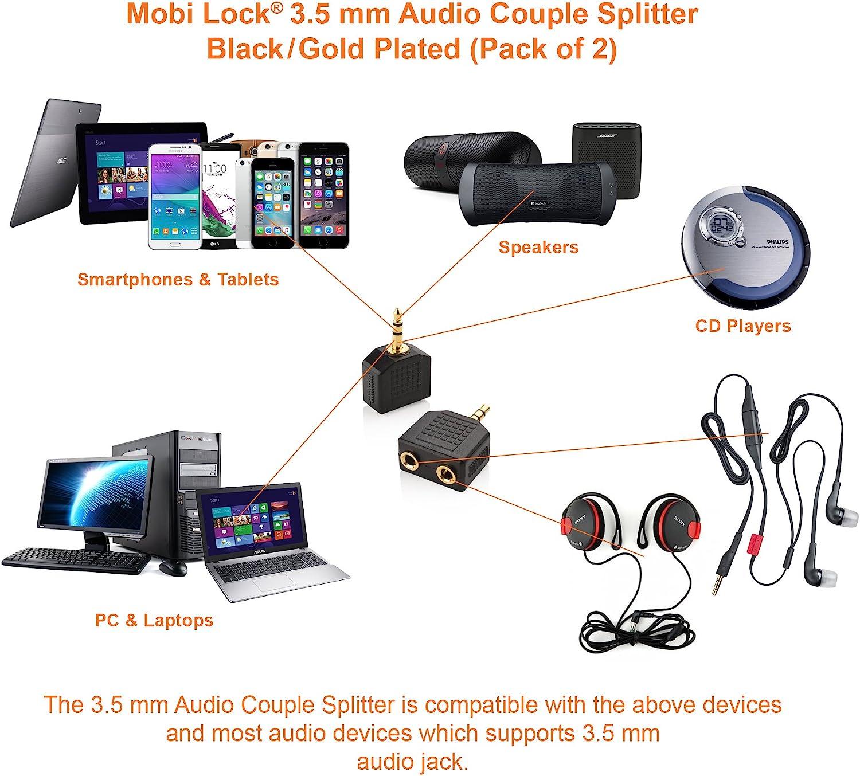 iPod Tablets Packung mit 2 Einheiten Laptop und andere Audioger/äte iPad Mobi Lock 3.5mm Audio Stereo und Kopfh/örer//Headset Y Splitter Adapter f/ür iPhones Android