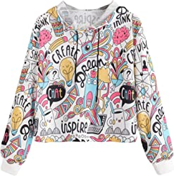 8e6d7b3c98 SheIn Women's Cartoon Print Drawstring Neck Hoodies Pullover Hooded  Sweatshirt