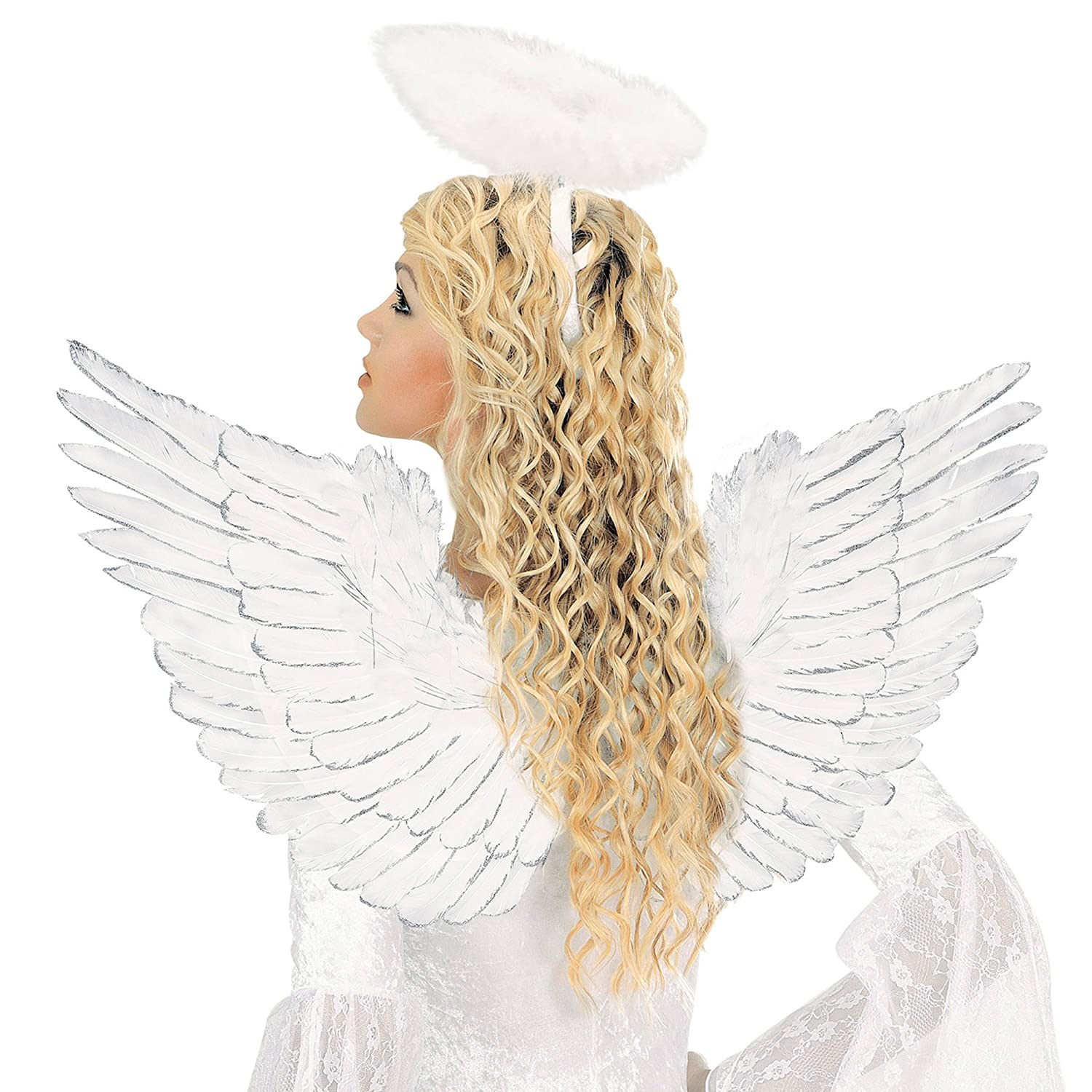 Wsilver Glitter 86x42 Accessory Fairy Angel 86 x 42cm White Feathered Wings