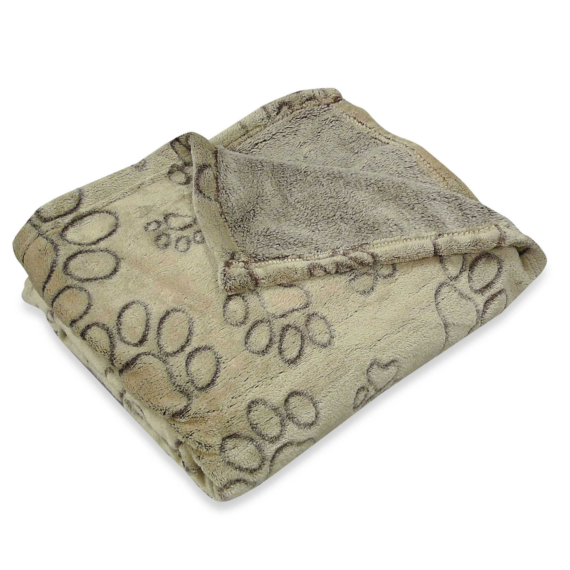 PawslifeTM Ultra Plush Embossed Paws Pet Blanket in Taupe