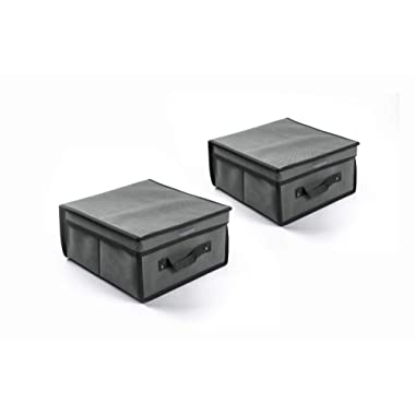 Karlscrown fodable Storage Lift-Box 30x30x15 2-Pack (Grey)