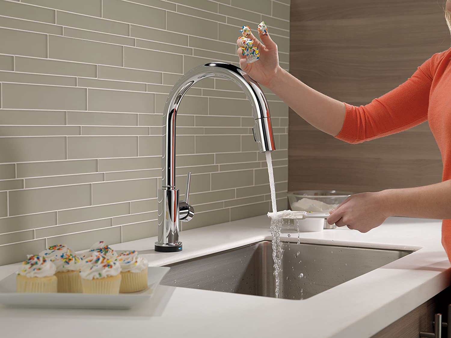 Delta Faucet 9159T-DST Trinsic Single Handle Pull-Down Kitchen ...