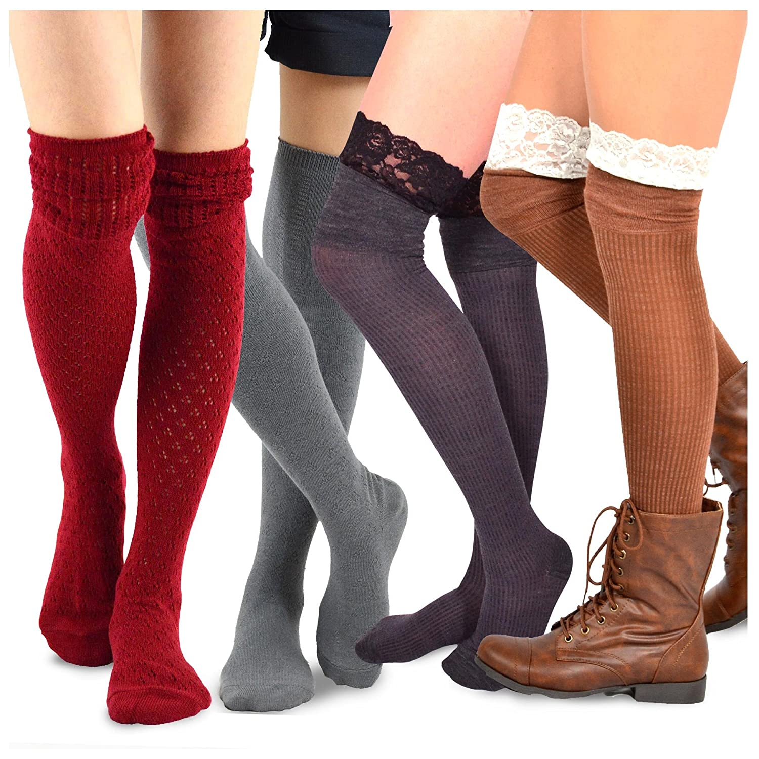 TeeHee Women's Fashion Over the Knee High Socks - 4 Pair Combo soxnet Inc 10850-10860-A09-4P Combo