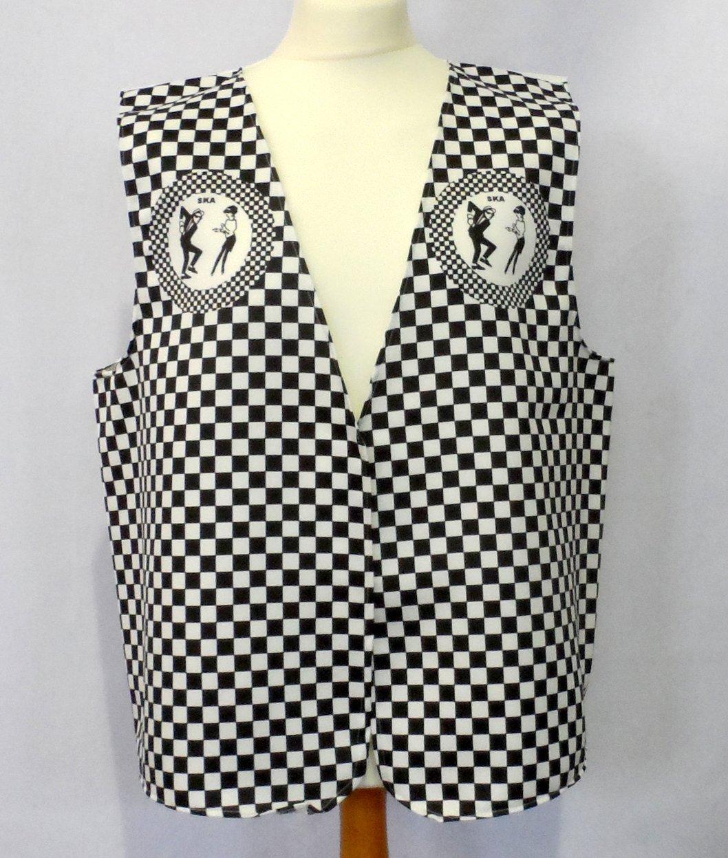 Ska 2 Tone Waistcoat for Men. Plus Sizes 44