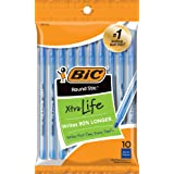 BIC Round Stic Xtra Life Ballpoint Pen, Medium Point (1.0mm), Blue, 10-Count