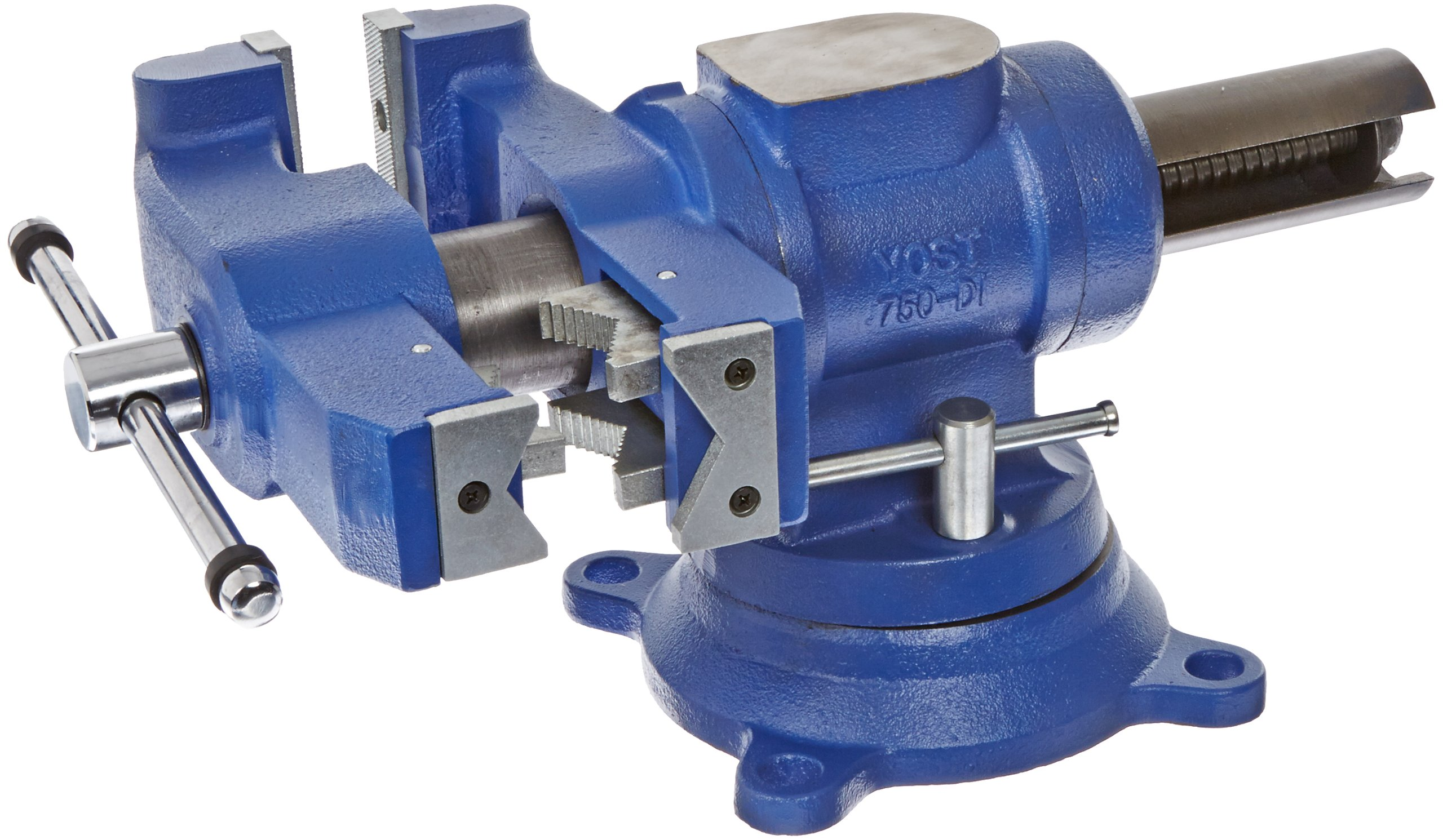 Yost Vises 750-DI 5'' Heavy-Duty Multi-Jaw Rotating Combination Pipe and Bench Vise with 360-Degree Swivel Base and Head