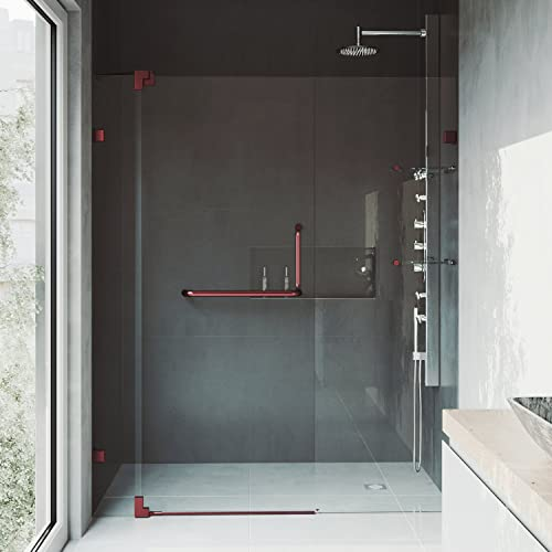 VIGO VG6042RBCL60 54 – 60 Pirouette Frameless Pivot Hinge Shower Door with SmartAdjust Technology, 3 8 Clear Tempered Glass, 304 Stainless Steel Hardware, in Oil Rubbed Bronze Finish