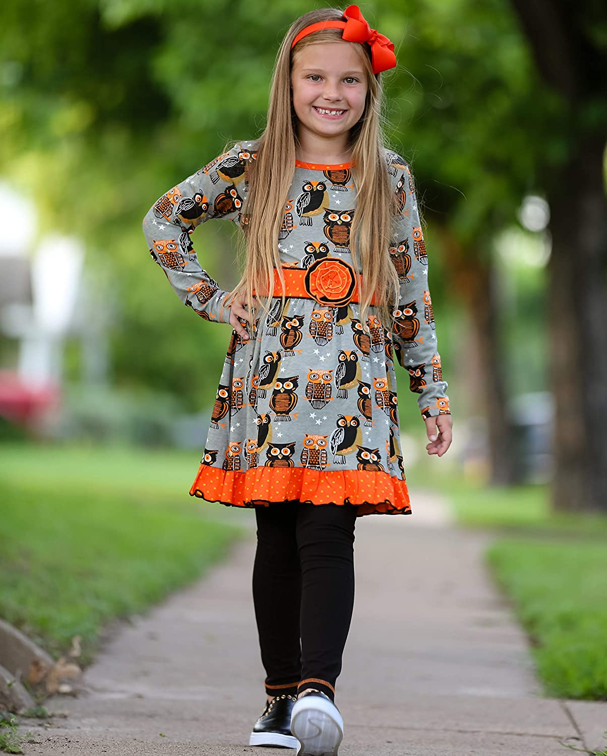 AnnLoren Big Girls Boutique Holiday Dress and Leggings Sizes from 12 Months to 11 Years