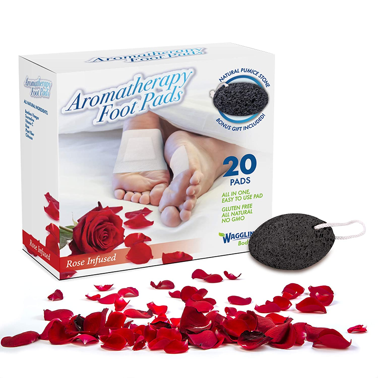 Foot Pads | Cleansing Organic Feet Pads | Natural Foot Care Patches | New Improved FDA Certified Premium All-in-One Rose Patch | Includes Bonus Foot Care Pumice Stone