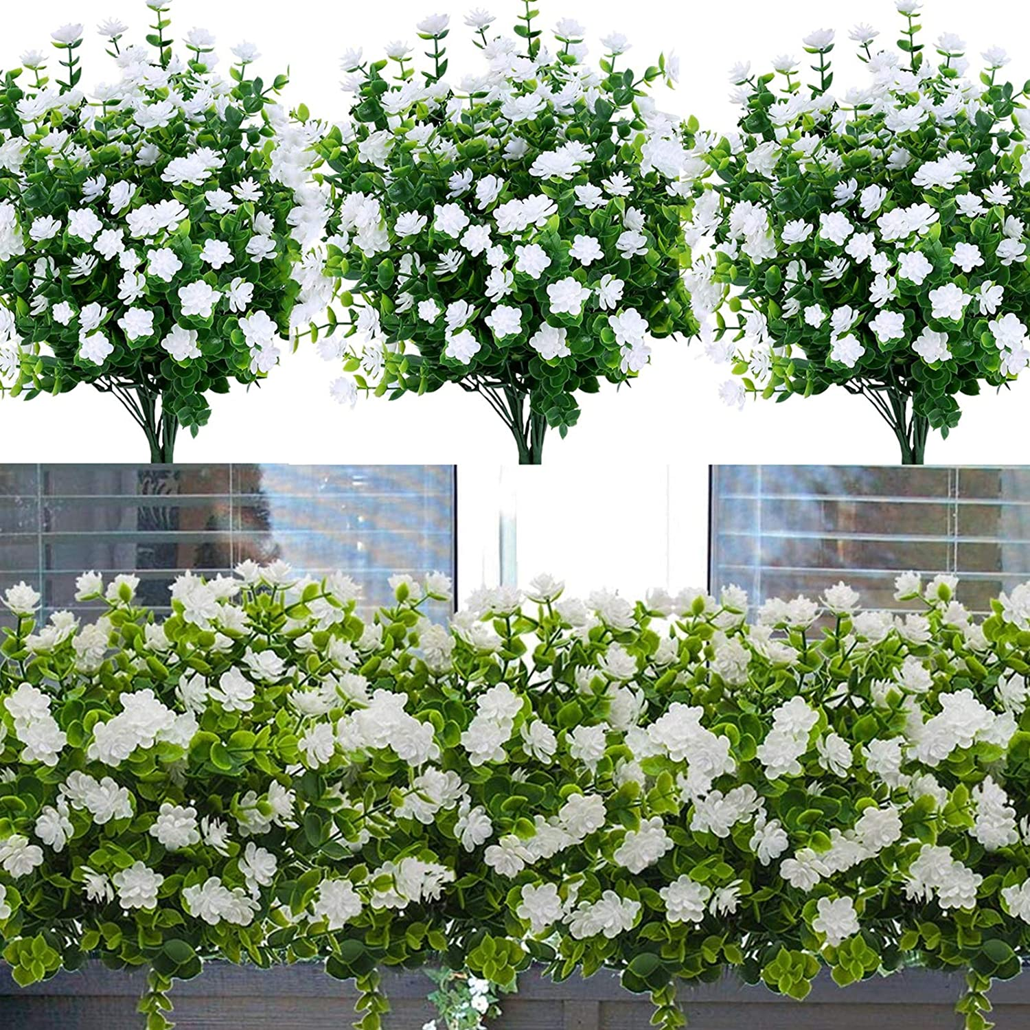 Artificial Fake Flowers Outdoor, 8pcs Plastic Flowers UV Resistant Faux Plants for Indoor Outside Hanging Home Porch Window Wedding Office Garden Decor (White)