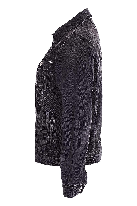 NOROZE Girls Ribbed Denim Jacket Vintage Distressed Jeans Top