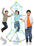 LimitlessFunN 81 Pcs STEM Fort Building Kit for Kids - Building Fun Forts Toys, Creative Play Tent Structures (Blue-Yellow)