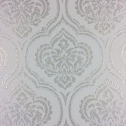 glitz glitter damask wallpaper teal