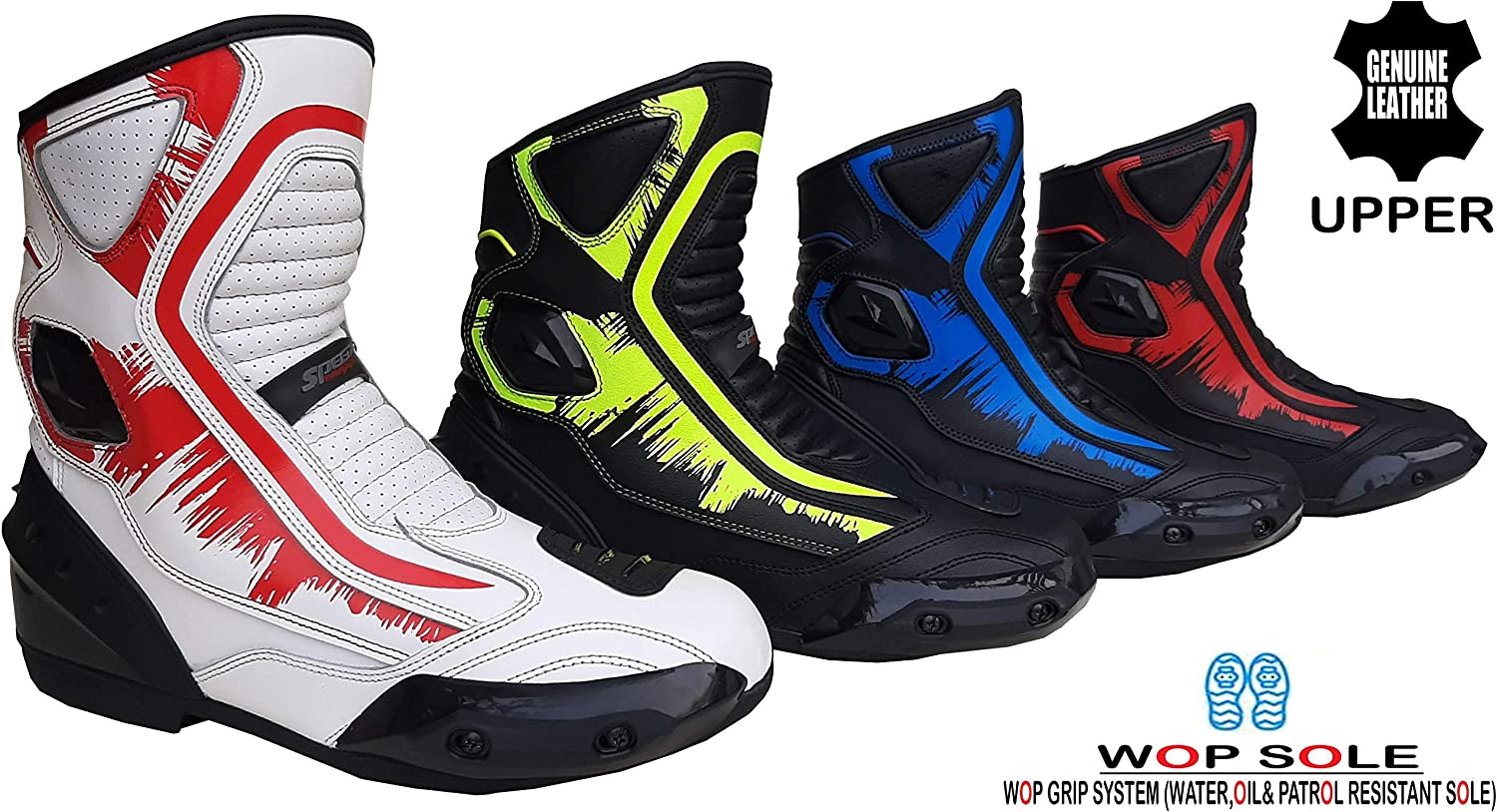 Speed MaxX Real Leather Blue//Red//Hiviz//White Mens Motorbike//Motorcycle Short Racing Sports Shoes//Boots Red, 11 UK