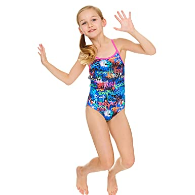 21681bd5990 Zoggs Girls' Saber Starback Swimsuit, Multi-Colour, 6-7 Years
