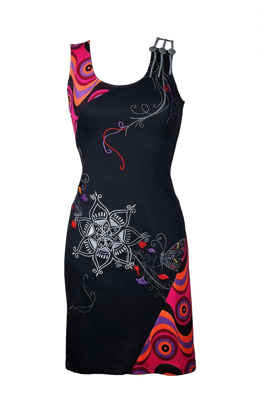 Einzigartiges Kleid mit grafischen Ethno Muster und bunten Stickereien - Hippie Chic - 100% Baumwolle - MILA