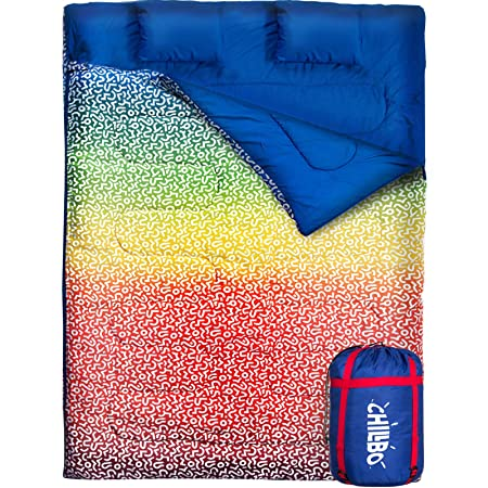 Chillbo Double Sleeping Bag for Adults Queen Sleeping Bag for Backpacking, Camping, Hiking Music Festivals Cool Patterns Queen Size XL 2 Person Sleeping Bags for Adults