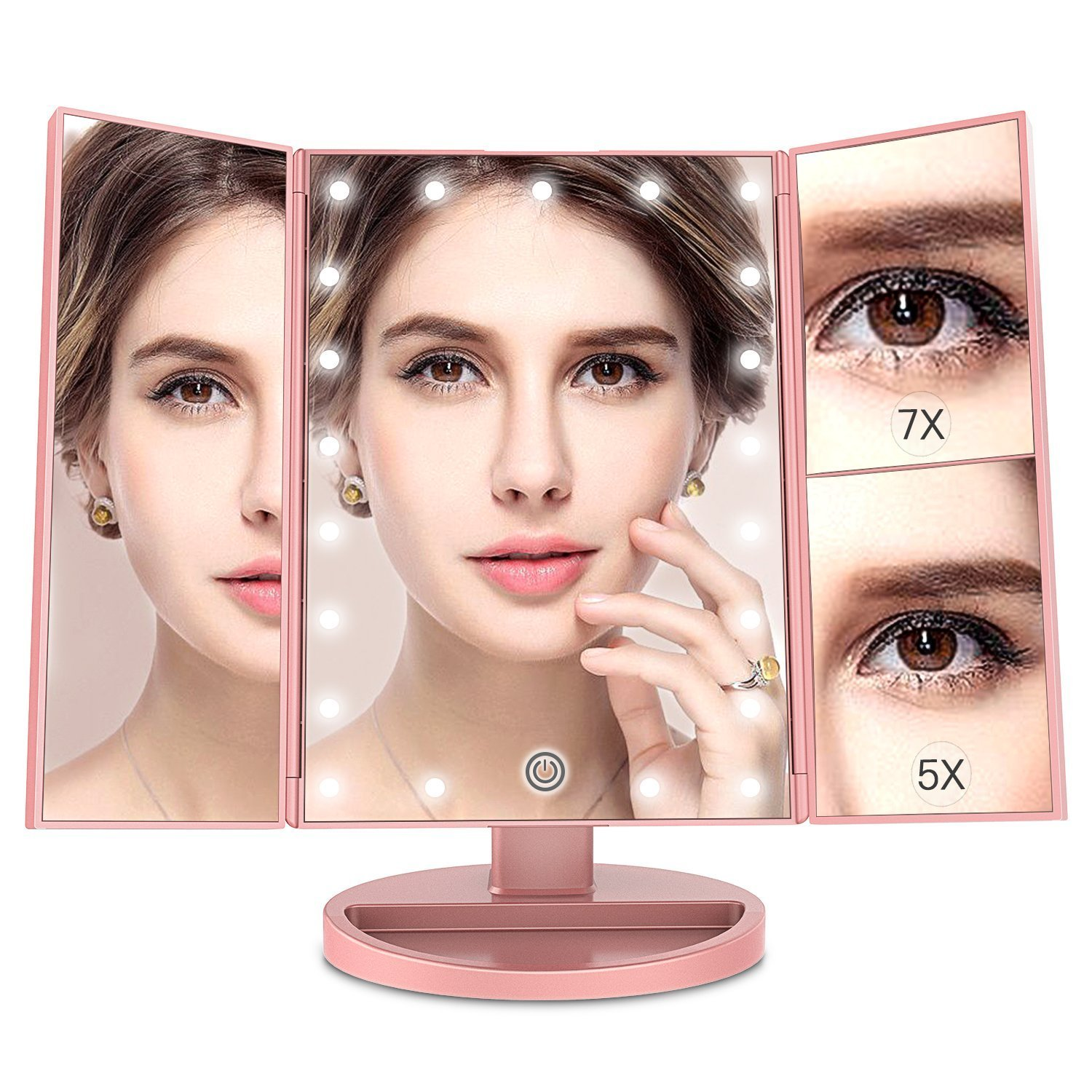 Makeup Mirror with 7X/5X Magnification,Trifold Mirror with 21 LED lights,Touch Screen,180 Degree Adjustable Rotation,Dual Power Supply,Countertop Cosmetic Mirror (rose gold)