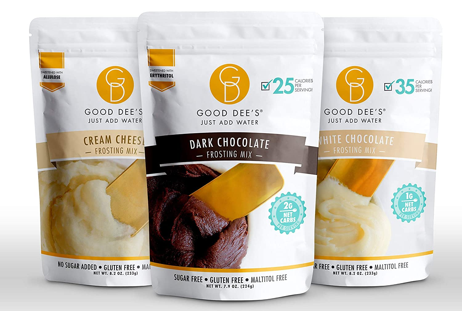 Good Dee's Just Add Water Frosting Bundle-White Chocolate, Dark Chocolate, and Cream Cheese-No Sugar Added, Gluten Free, Keto, Low Carb and Diabetic Friendly 3 Pack