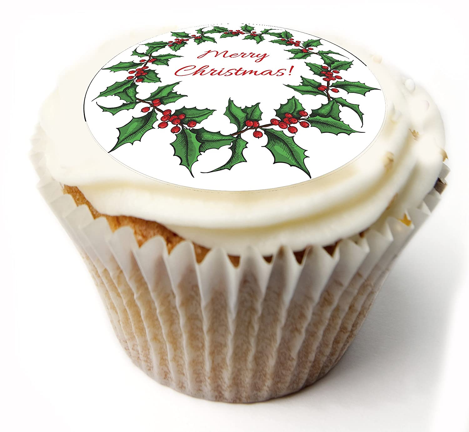 Christmas Cupcake Toppers Merry Christmas Fairy Cake Toppers Muffin Cake Toppers PRE CUT Edible Icing Frosting Sheet or Rice paper Wafer. x 20 PRE CUT 1.75 Inch. Ideal for Christmas party, Christmas cake, Christmas decoration etc