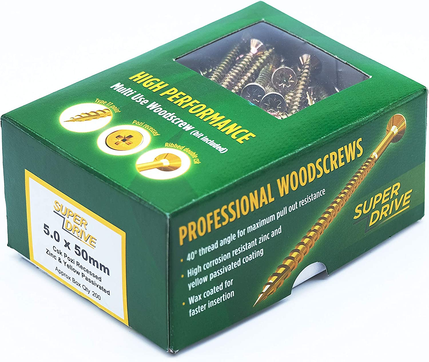 5 x 70 SEQUAL/® Box of 100 High Performance Multi Use Wood Screws Super Drive Professional and Home Use with Free Bit