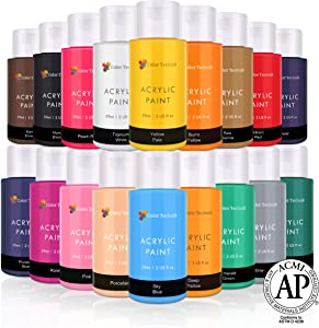 Acrylic Paint Set By Color Technik, Artist Quality, NEW COLORS, 18x59ml (2-Ounce) Bottles, Best Colors For Painting Canvas, Wood, Clay, Fabric, Nail Art & Ceramic, Rich Pigments, Heavy Body, GIFT BOX
