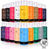 Acrylic Paint Set by Color Technik, Artist Quality, New Colors, 18x59ml (2-Ounce) Bottles, Best Colors for Painting…