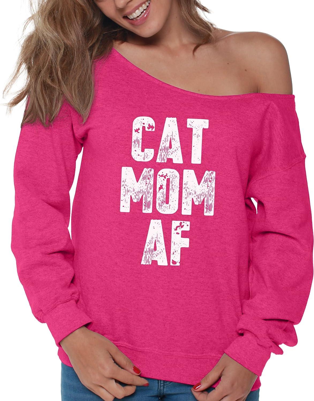 Vizor Womens Cat Mom AF Off Shoulder Tops Sweatshirts Funny Cat Meme for Moms of Cats