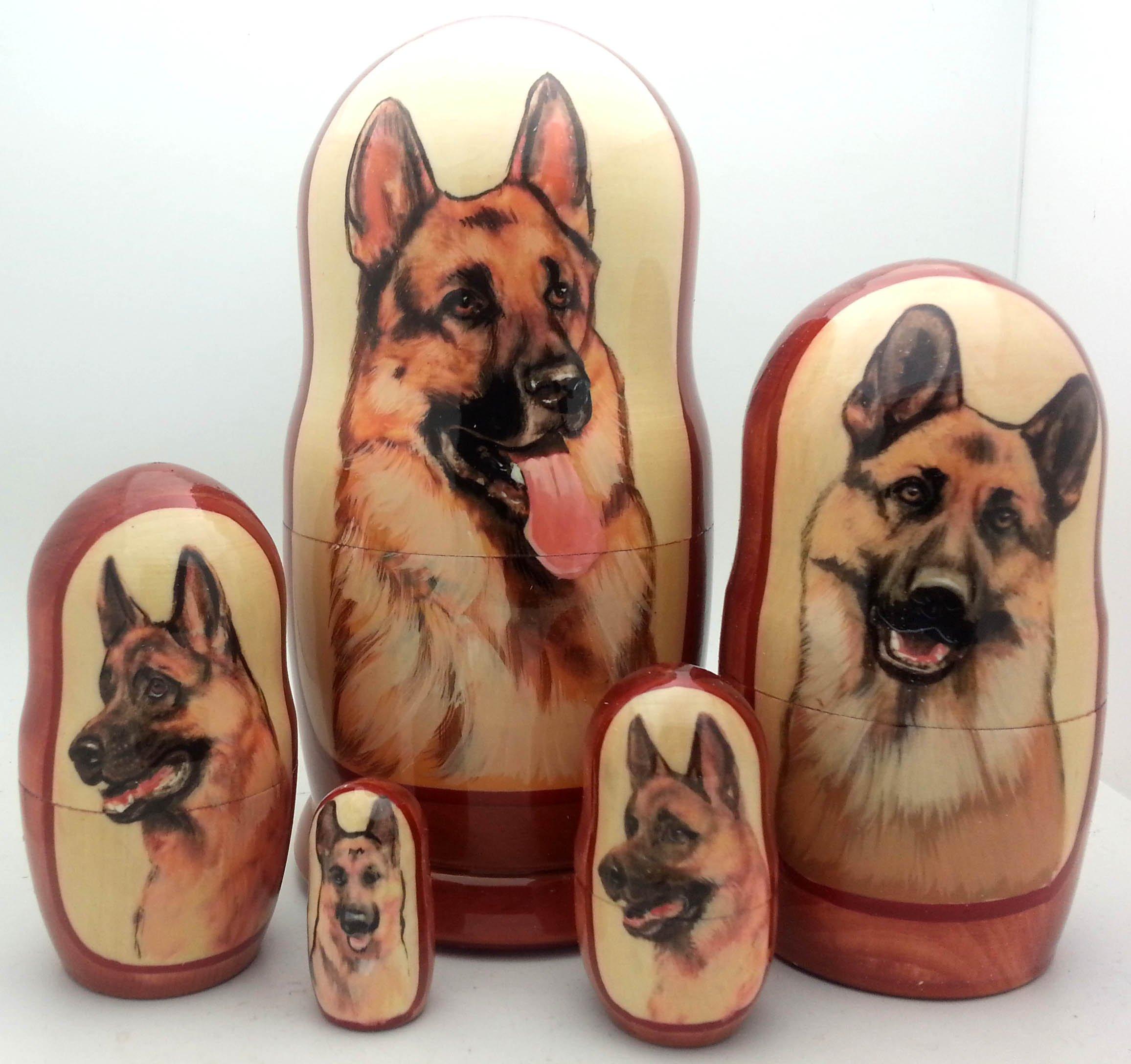 DOG German Shepherd nesting dolls Russian Hand Made 5 piece matryoshka Set 7''H