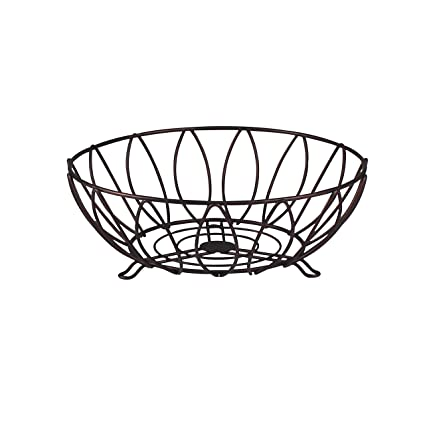 Open Design Sturdy Steel Construction Spectrum Diversified Leaf Fruit Bowl