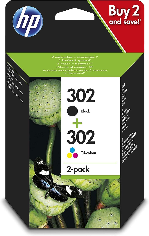 HP 302 X4D37AE, Pack de 2, Cartuchos de Tinta Originales Negro y Tricolor, compatible con impresoras de inyección de tinta HP DeskJet 1110,2130,3630; ENVY 4520; OfficeJet 3830,4650,5220,5230: Hp: Amazon.es: Oficina y papelería