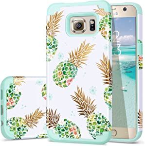Galaxy S6 Case,Pineapple S6 Cases,Fingic Shiny Pineapple&Fresh Green Silicone Design Summer Case 2 in1 Hybrid Skin Cover for Samsung Galaxy S6,Green Pineapple/Dandelion