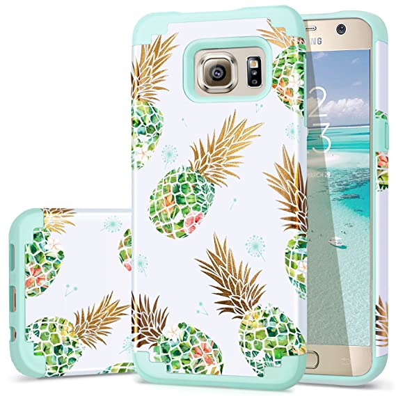 brand new fbff6 2d6c2 Galaxy S6 Case,Pineapple S6 Cases,Fingic Shiny Pineapple&Fresh Green  Silicone Design Summer Case 2 in1 Hybrid Skin Cover for Samsung Galaxy  S6,Green ...