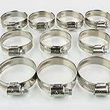 10 Stück EDELSTAHL Schlauchschellen W2, Spannbereich 32 bis 50 mm, Bandbreite 12 mm, DIN 3017, Industriequalität, mit Schneckengewinde,