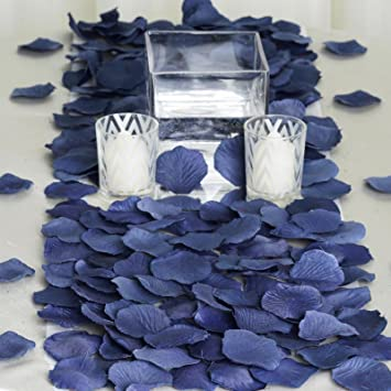BalsaCircle 2000 Silk Rose Petals Wedding Decorations Bulk Supplies   Navy  Blue