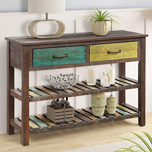 Console Table, Buffet Sideboard Sofa Table with Storage Drawers and 2 Tiers Shelves, Multicolor Ship from USA Warehouse