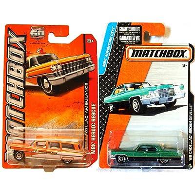 1963 Cadillac Ambulance Matchbox & 1969 Cadillac Sedan Deville Adventure Car Retro Style set MBX Heroic Emergency Response Team: Toys & Games