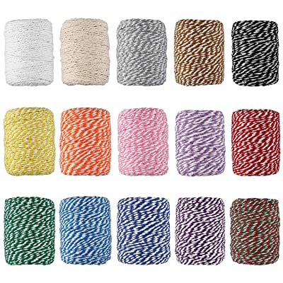 HULISEN Bakers Twine, 15 Rolls Cotton Colourful Twine String for Artworks, DIY Crafts, Gift Wrapping, Picture Display and Embellishments : Office Products