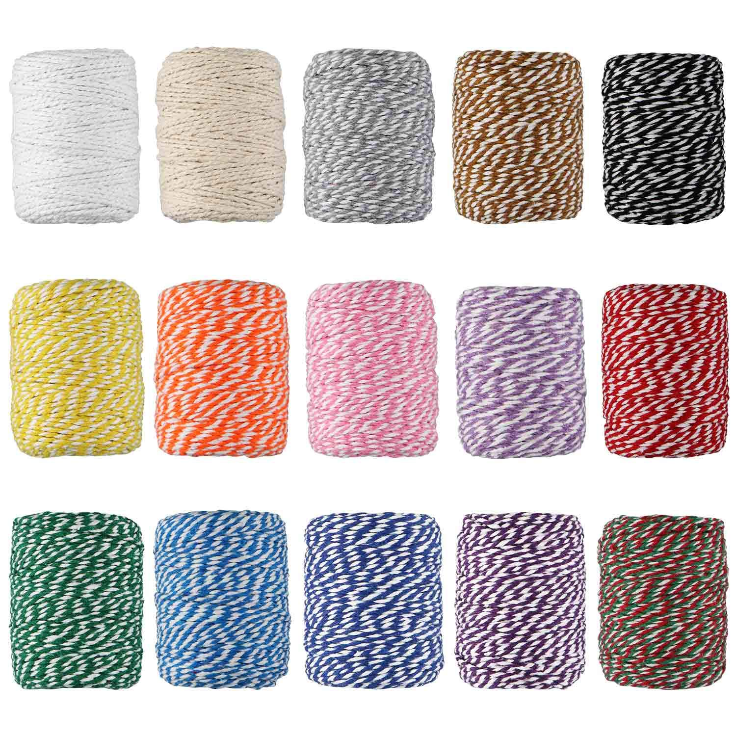 Cotton Bakers Twine, HULISEN 15 Rolls Colourful Twine String for Artworks, DIY Crafts, Gift Wrapping, Picture Display and Embellishments by HULISEN