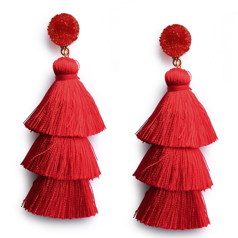 Red Thread Tassel Earrings Statement Layered Fringe Drop Earrings Chandelier Dangle Studs Christmas Halloween Costumed Earrings by Me&Hz