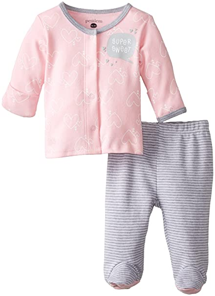 Petit Lem Baby Girls Bow Heart Footed Sleeper