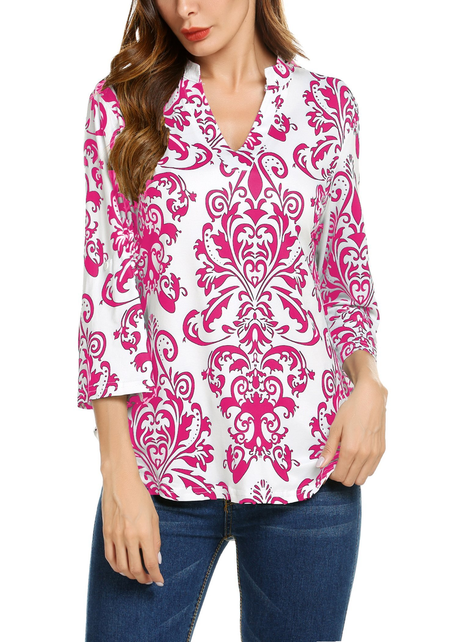 Hount Tops for Women Long Sleeve Loose Pullover Tunic Top Blouse (XX-Large, Red)