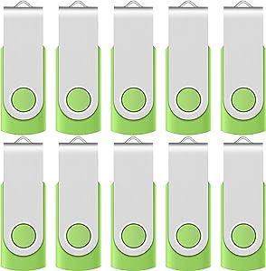 Enfain 32GB USB 2.0 Flash Drive Bulk Thumb Drive Memory Stick Swivel Pen Drives, with 12 Labels for Data Marking (10 Pack, Green)